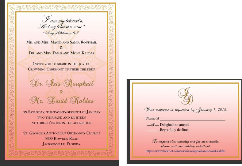 Gold Border Filigree Coptic Cross Coral Background Wedding Invitation and RSVP