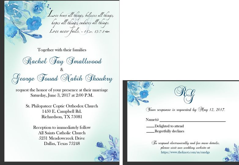 Blue Green Floral Watercolor Wedding Invitation And RSVP