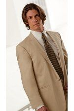 Champagne Mezzo Wedding Suit by Oleg Cassini - This one-button, notch lapel wedding suit with self...