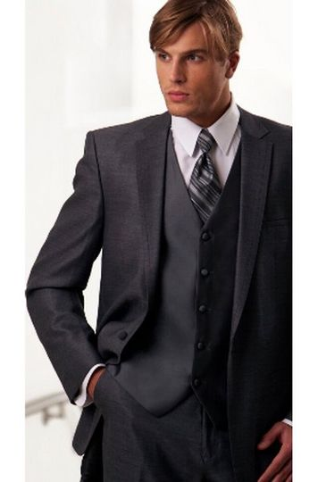 Grey Mezzo Wedding Suit by Oleg Cassini - This one-button, notch lapel wedding suit with self faced...