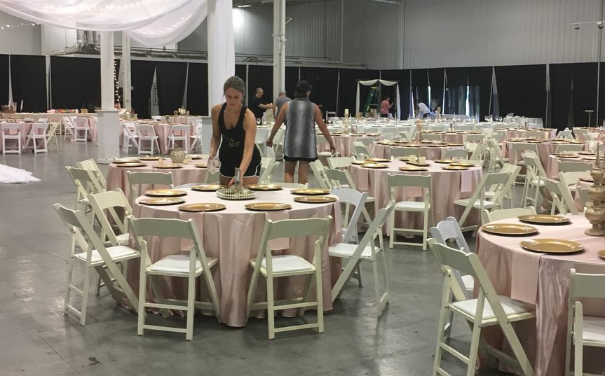 Baby pink table cloths