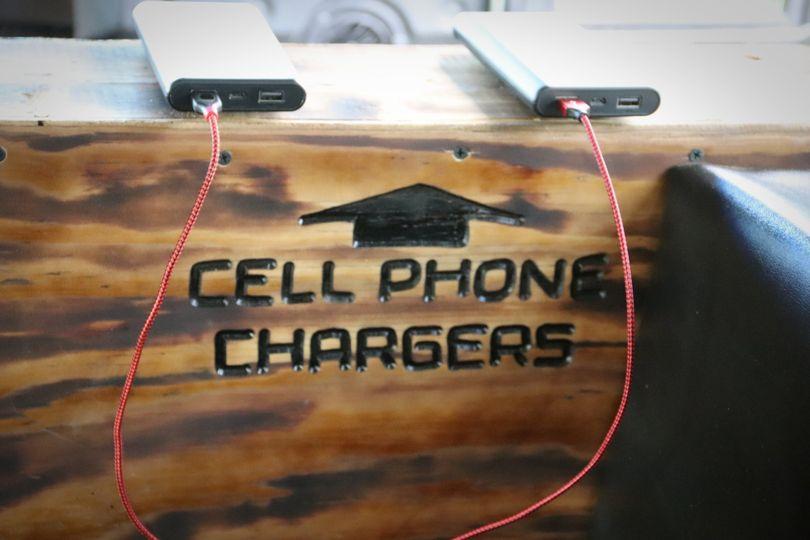 Phone charging station.