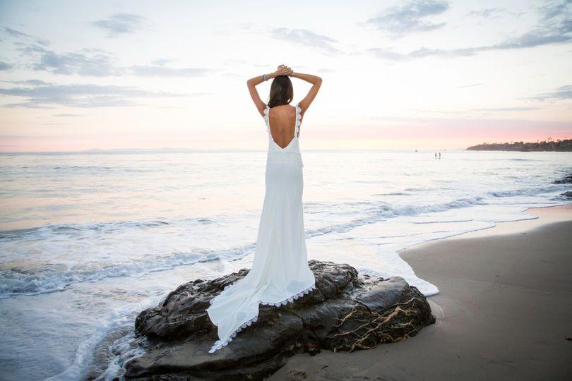Bride overlooking the sea