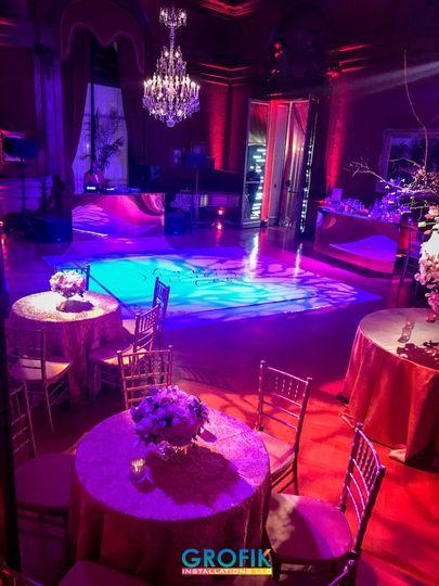 Dance floor lit up