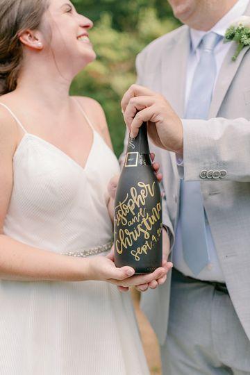 Hand-lettered bubbly bottle