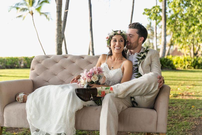 Cozy bride and groom