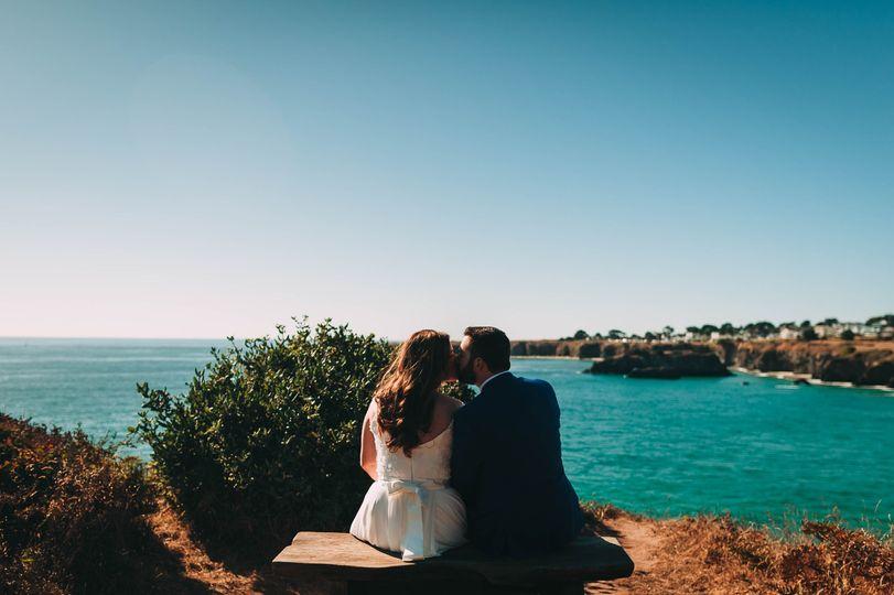 Newlyweds beside the sea