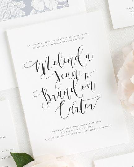 Shine wedding invitations invitations weddingwire 800x800 1495138102967 flowing calligraphy wedding invitations 1 stopboris Gallery