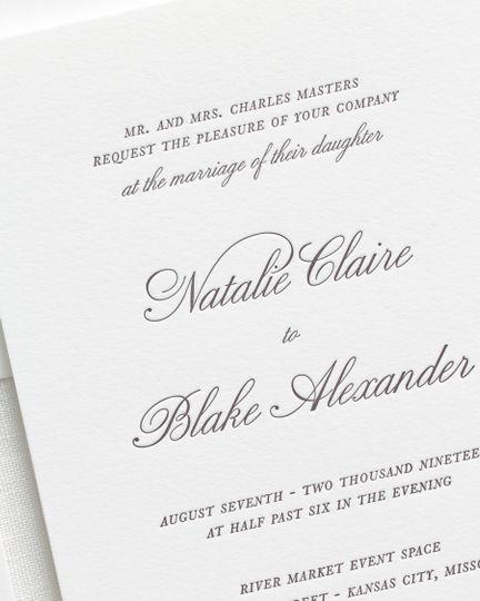 classic script letterpress wedding invitations 2