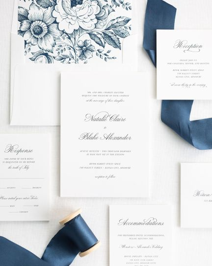 Classic script with navy