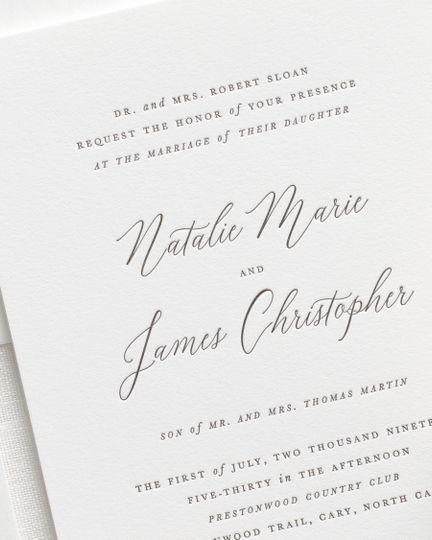 Cursive letterpress invite