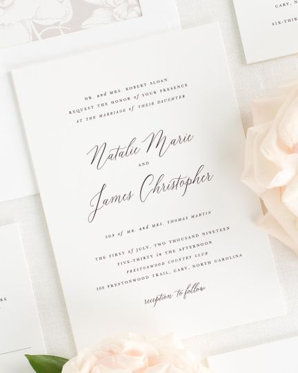 Cursive wedding invite