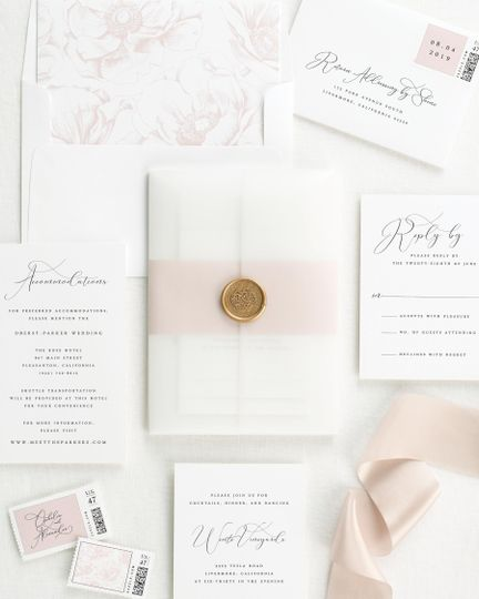 Gold wax seal and invite