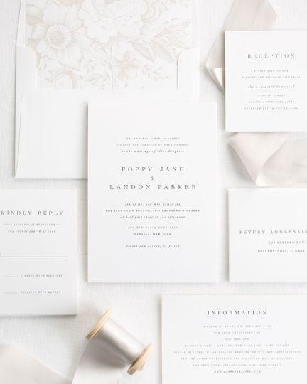 Neutral ribbon wedding invite