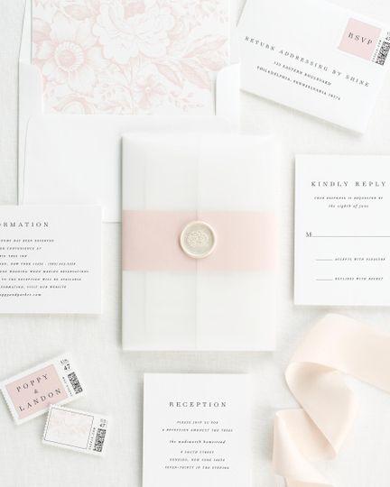 Pink accent wedding invite