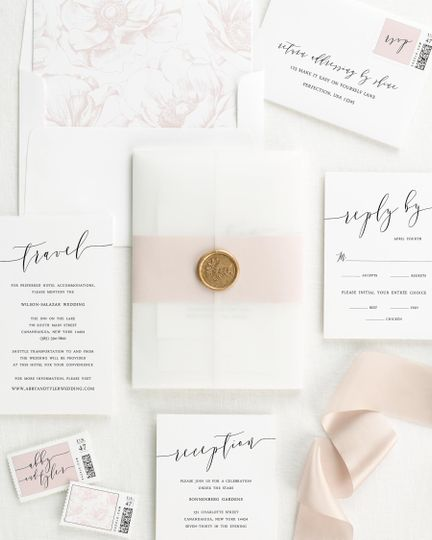 Vellum and wax seal invite