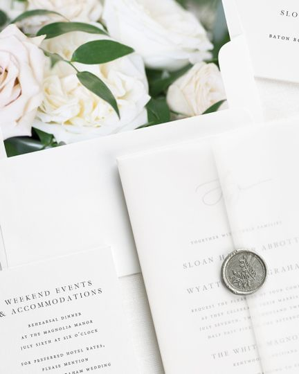 Floral invite with silver seal