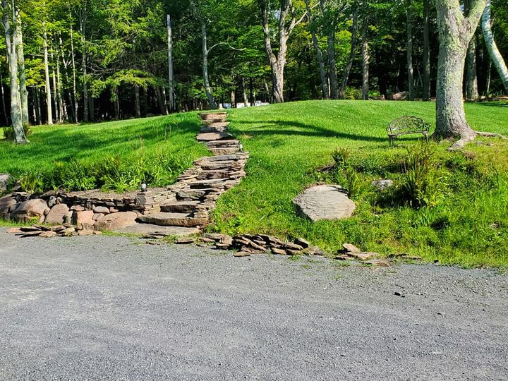 Rock stairs to Great Lawn