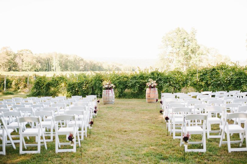 Vineyard wedding setup