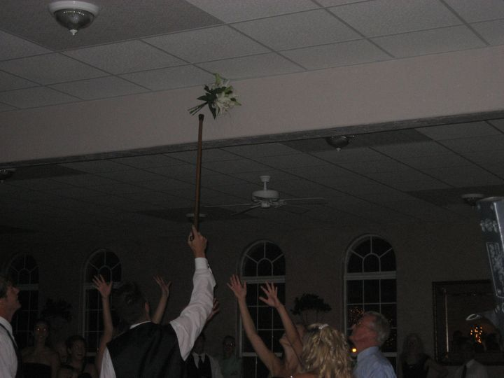 Bouquet stuck in ceiling