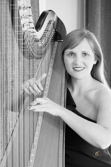 Emily with her harp