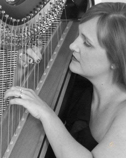 Harpist performing