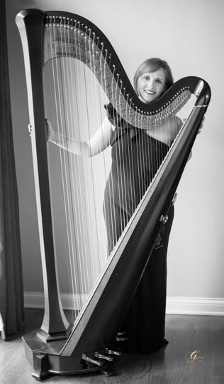 Emily and her harp portrait