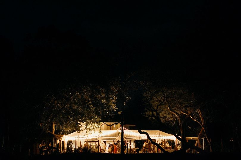 Beautiful tent at night
