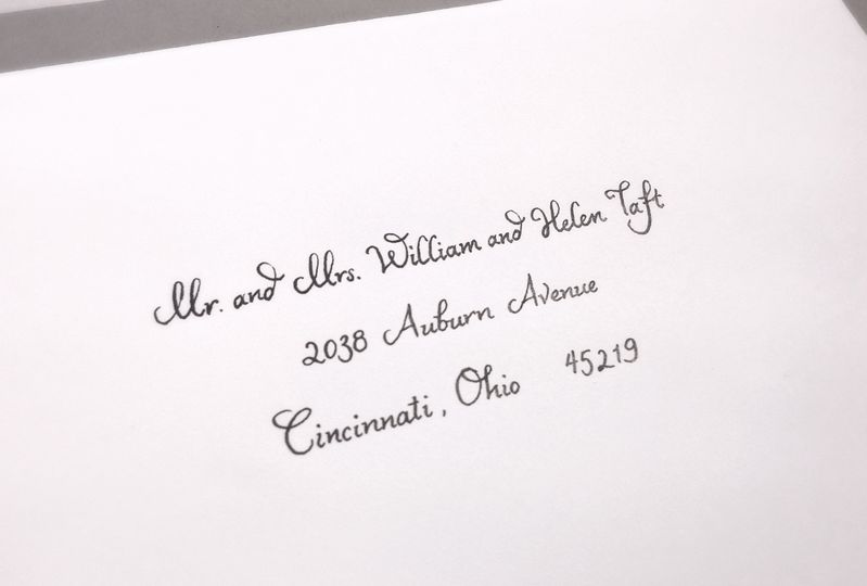 Ballerino font - black on white envelope.