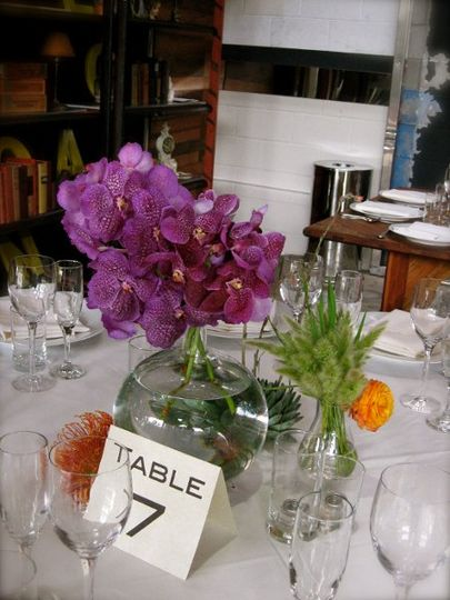 Table with fresh flower centerpiece