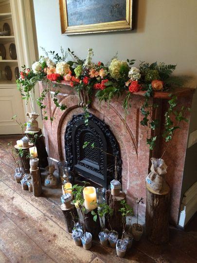 Fireplace floral decoration