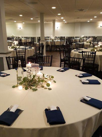 Banquet Room Long View Maximum Capacity Setup
