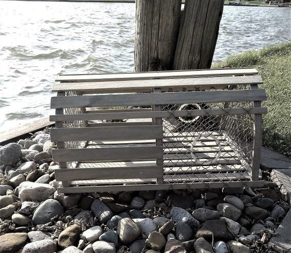Weathered wood lobster trap