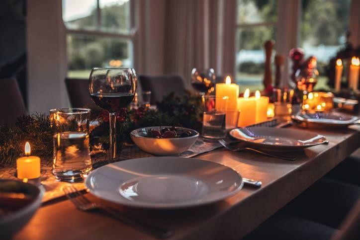 Romantic and intimate dinner setup