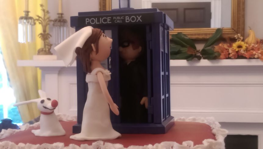Police Call Box Bride and Groom Topper
