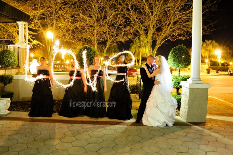 Love sparklers and newlyweds