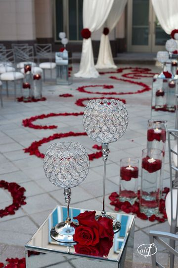 Glassware and wedding aisle