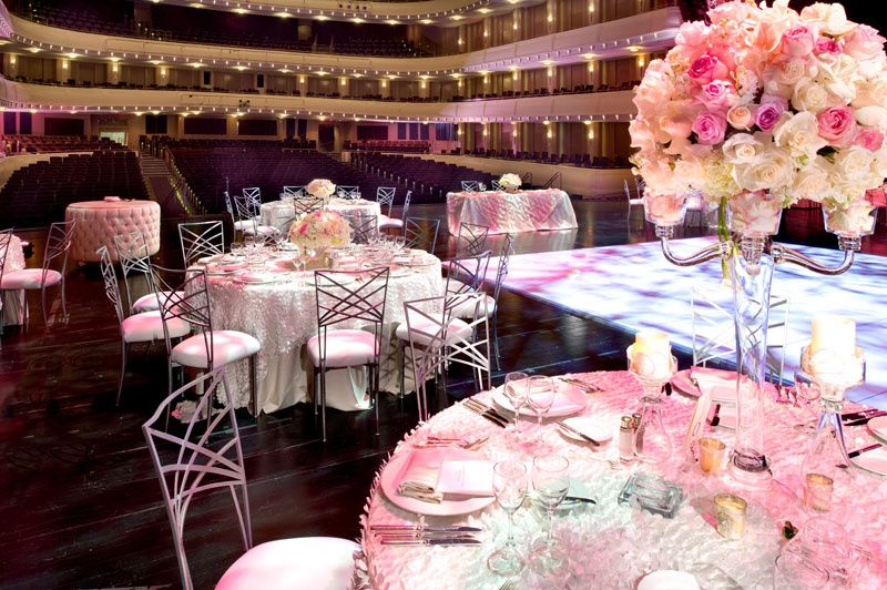 Reception hall in rose pink decor