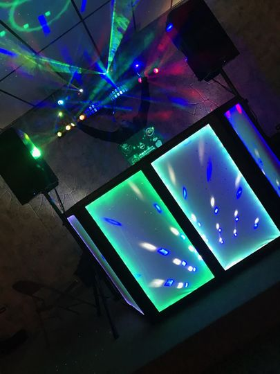 DJ booth setup and lighting
