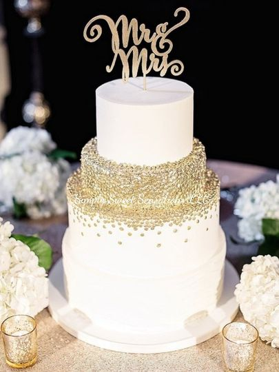 Three-tier gold cake
