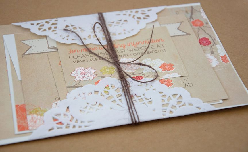 """This #6 Rustic Wedding Suite is rustic and elegant, featuring a """"faux"""" kraft cardstock invitation,..."""