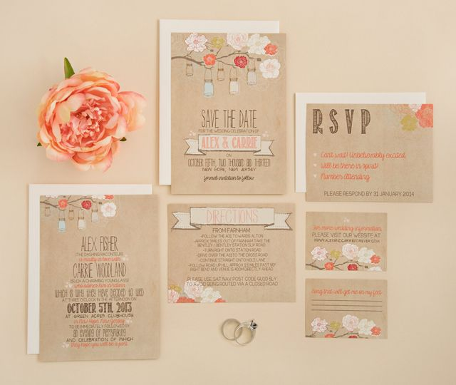 "This #6 Rustic Wedding Suite is rustic and elegant, featuring a ""faux"" kraft cardstock invitation,..."