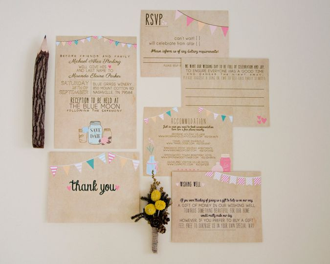 "This #13 Rustic Wedding Suite is rustic and shabby chic, featuring a ""faux"" kraft cardstock..."