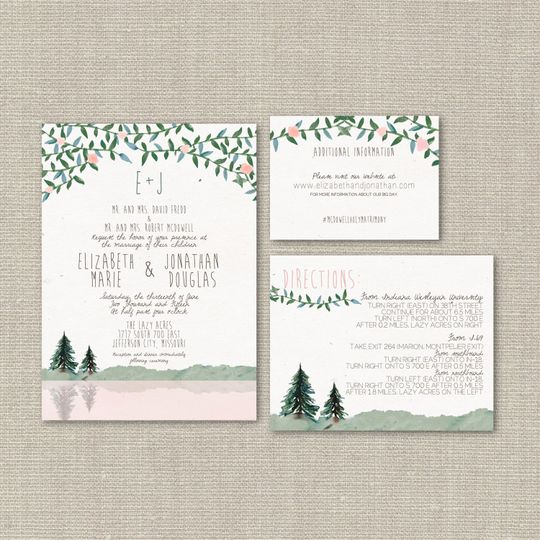 This #54 Watercolor Wedding Suite is charming and adorable, featuring a linen cardstock invitation,...