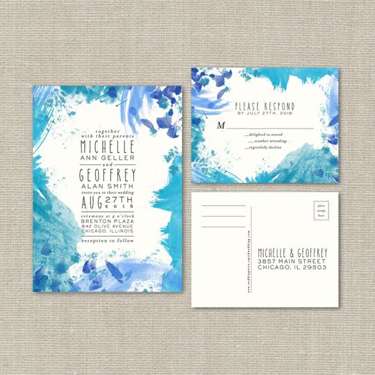 This #55 Painted Watercolor Wedding Suite is artistic and lovely, featuring a linen cardstock...