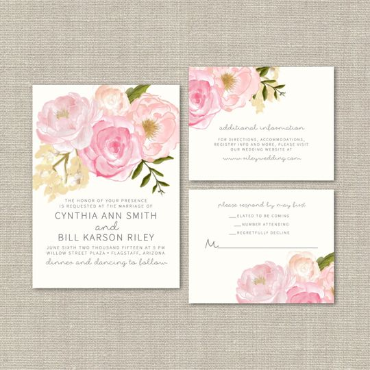 This #56 Watercolor Wedding Suite is charming and sweet, featuring a linen cardstock invitation,...