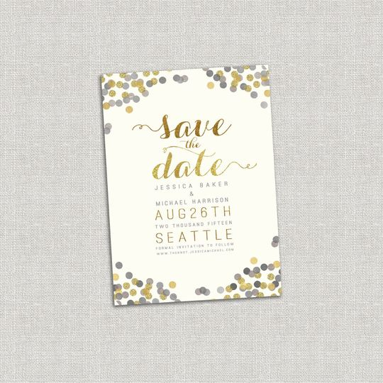 This Gold & Silver Confetti Save the Date is wonderfully chic and lovely, featuring a linen...