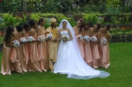 The couple and bridesmaids