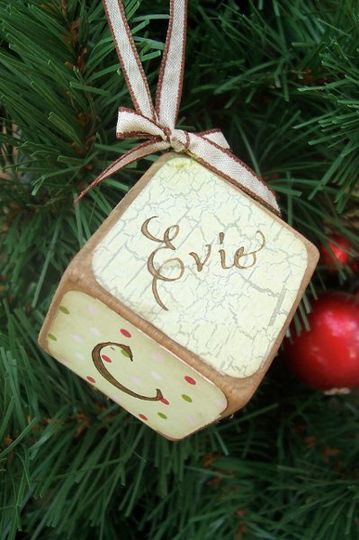 This is a vintage style baby block ornament that I offer in my Etsy shop. It is created with antique...