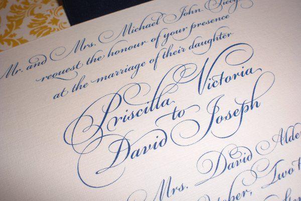 Piecyk-Buchannan Wedding. Special Flourished Fonts Available.